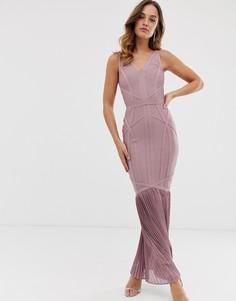 Пыльно-фиолетовое платье-бандаж макси с плиссировкой по нижнему краю Lipsy - Фиолетовый