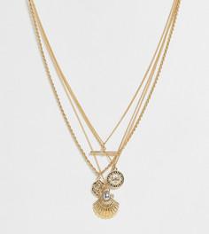 Многорядное ожерелье с подвесками в виде солнца, монеты и планки Reclaimed Vintage inspired - Золотой