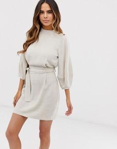 Льняное платье мини с поясом ASOS DESIGN - Кремовый
