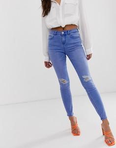 Синие джинсы скинни с прорехами на коленях Lipsy - Синий