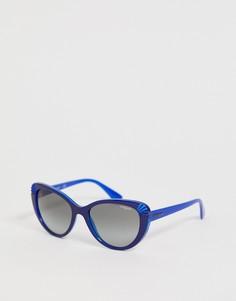 Солнцезащитные очки кошачий глаз в синей оправе с блестками Vogue - Синий