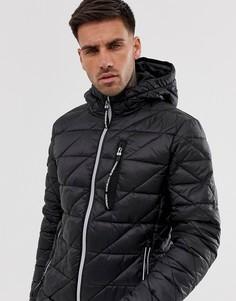 Черная куртка с диагональной стеганой отделкой и светоотражающей молнией Superdry - Fuji - Черный