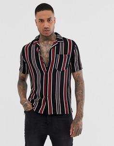 Рубашка в вертикальную полоску с воротником в виде лацканов Religion - Красный