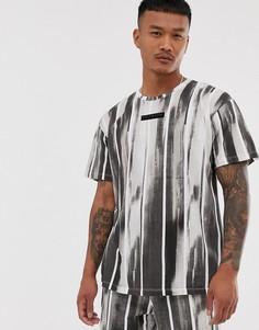 Черная комбинируемая футболка свободного кроя в полоску Religion - Черный