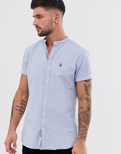 2ff53639460754e Синяя оксфордская рубашка с короткими рукавами и воротником на пуговице  River Island - Синий
