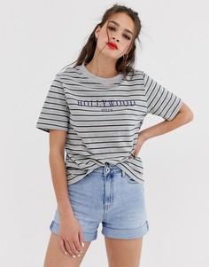 Oversize-футболка в полоску с принтом Hollywood Daisy Street - Мульти