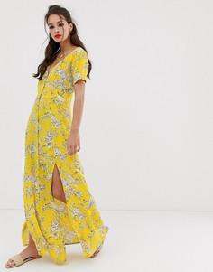 Желтое платье макси на пуговицах с узором Miss Selfridge - Желтый