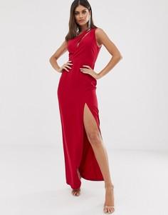 Красное платье макси на одно плечо Vesper - Красный