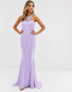 Платье макси с высоким воротом City Goddess - Фиолетовый