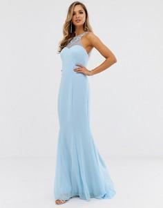 Платье макси с высоким воротом City Goddess - Синий