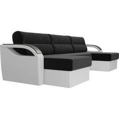 П-образный диван Лига Диванов Форсайт микровельвет черный экокожа белый