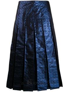 Coach плиссированная юбка миди с эффектом металлик