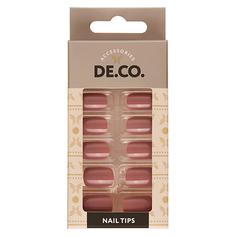 Набор накладных ногтей DE.CO. ESSENTIAL Light brown 24 шт + клеевые стикеры 24 шт Deco