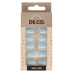 Набор накладных ногтей DE.CO. ESSENTIAL Mild blue 24 шт + клеевые стикеры 24 шт Deco