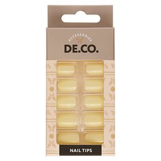 Набор накладных ногтей DE.CO. ESSENTIAL Mild yellow 24 шт + клеевые стикеры 24 шт Deco