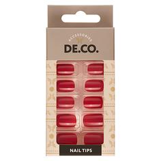 Набор накладных ногтей DE.CO. ESSENTIAL Dark red 24 шт + клеевые стикеры 24 шт Deco