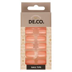 Набор накладных ногтей DE.CO. ESSENTIAL Light coral 24 шт + клеевые стикеры 24 шт Deco