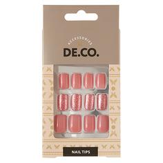 Набор накладных ногтей DE.CO. OMBRE nude pink 24 шт + клеевые стикеры 24 шт Deco