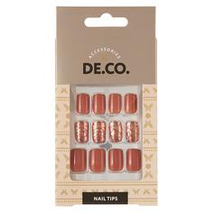 Набор накладных ногтей DE.CO. OMBRE bronze mix 24 шт + клеевые стикеры 24 шт Deco
