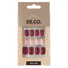 Набор накладных ногтей DE.CO. OMBRE berry gold 24 шт + клеевые стикеры 24 шт Deco