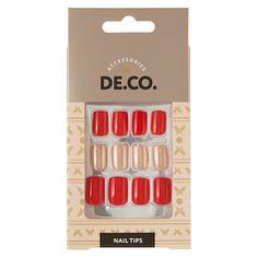 Набор накладных ногтей DE.CO. OMBRE red gold 24 шт + клеевые стикеры 24 шт Deco