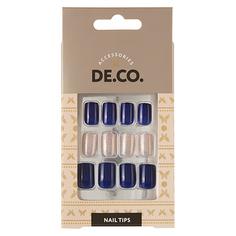 Набор накладных ногтей DE.CO. OMBRE deep blue 24 шт + клеевые стикеры 24 шт Deco