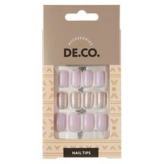 Набор накладных ногтей DE.CO. OMBRE lilac 24 шт + клеевые стикеры 24 шт Deco