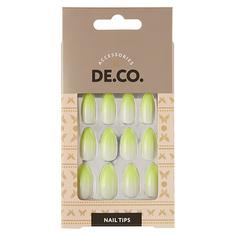 Набор накладных ногтей DE.CO. OMBRE yellow 24 шт + клеевые стикеры 24 шт Deco