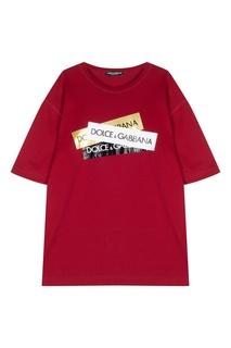 Терракотовая футболка с принтом Dolce&Gabbana