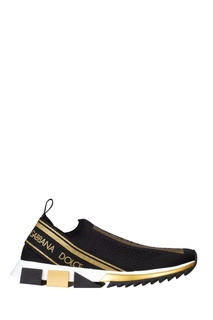 Эластичные кроссовки с золотистой отделкой Dolce&Gabbana