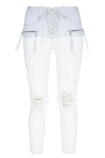 Двухцветные джинсы со шнуровкой Unravel Project