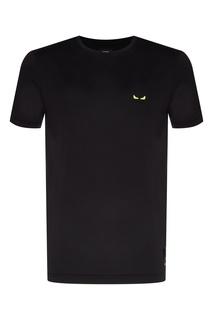 Классическая черная футболка с маленьким рисунком Fendi