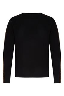 Черный шерстяной свитер с рисунком на рукавах. Fendi