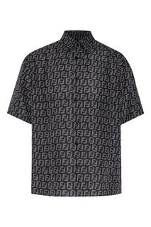 Черно-серая мужская рубашка с коротким рукавом Fendi