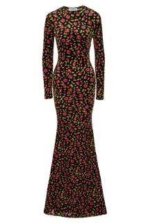 Бархатное платье макси с принтом Balenciaga