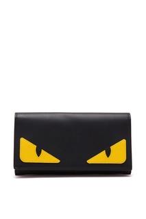Кожаный черный клатч с желтыми вставками «Монстр» Fendi