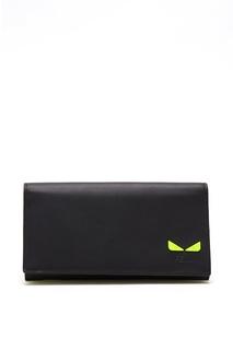 Черный клатч из гладкой кожи с желтыми вставками Fendi