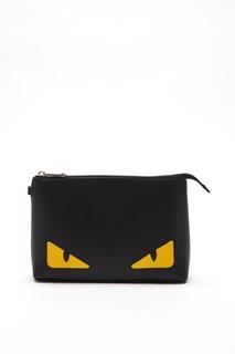 Черный кожаный клатч среднего размера Fendi