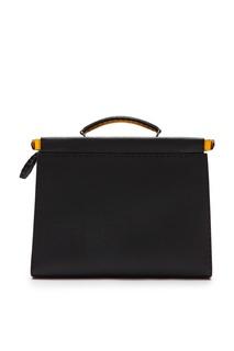 Черная кожаная сумка-портфель Fendi