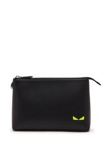Черный кожаный клатч-конверт на молнии Fendi