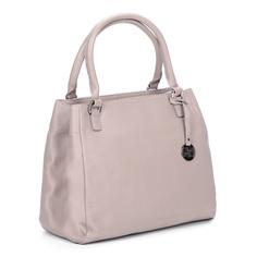 Розовая кожаная сумка с брелоком Respect