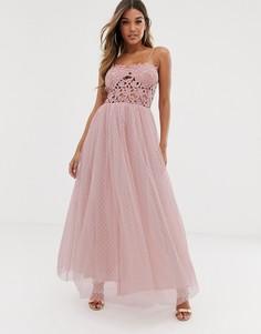 Платье макси с кружевным лифом и юбкой из тюля Club L - Розовый