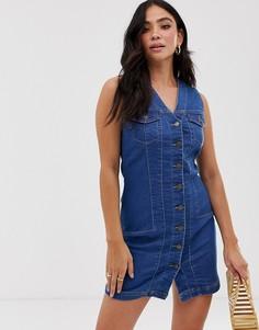 Джинсовое платье мини с пуговицами Parisian - Синий