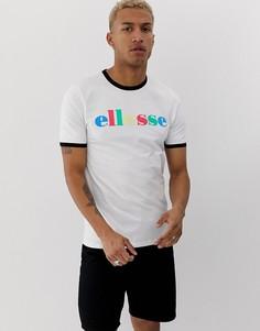 Белая футболка с разноцветной надписью ellesse Moa - Белый