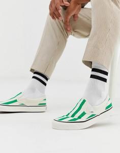 Бело-зеленые кеды-слипоны Vans - Белый