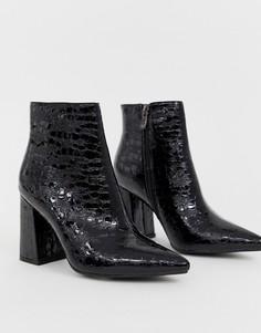 b391a87a3 Черные ботильоны на каблуке с рисунком крокодиловой кожи Public Desire  Hollie - Черный