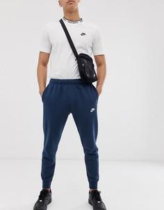 Темно-синие джоггеры с манжетами Nike Club BV2671-410 - Темно-синий