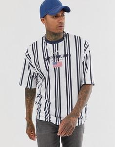Oversize-футболка в вертикальную полоску с вышивкой ASOS DESIGN - Белый