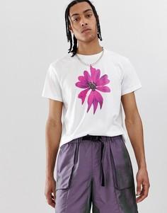 Белая футболка с цветочным принтом на груди Cheap Monday - Белый