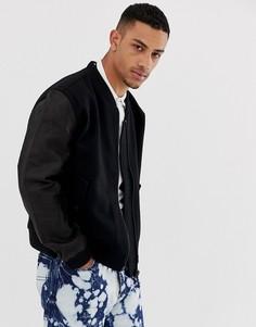 Бомбер из шерстяной ткани с кожаными вставками Dr Martens - Черный